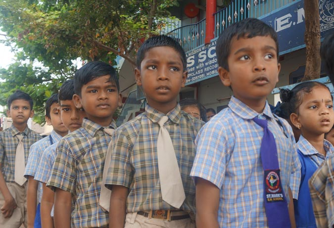 Students at St Mark's School, Kakinada